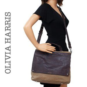 Olivia Harris Textured Leather Front Flap Bag